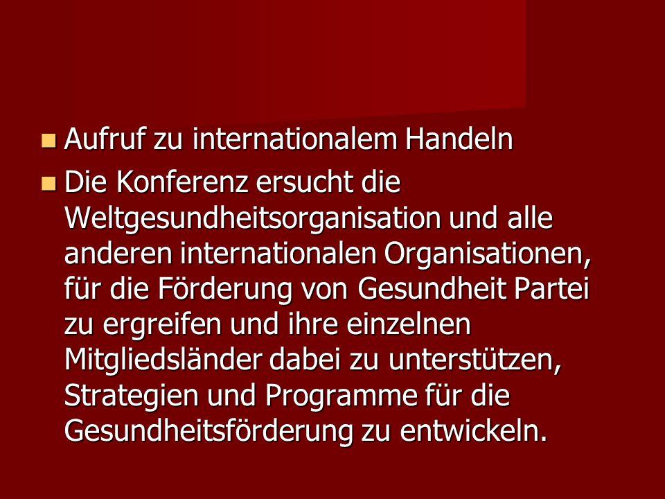 Aufruf zu internationalem Handeln