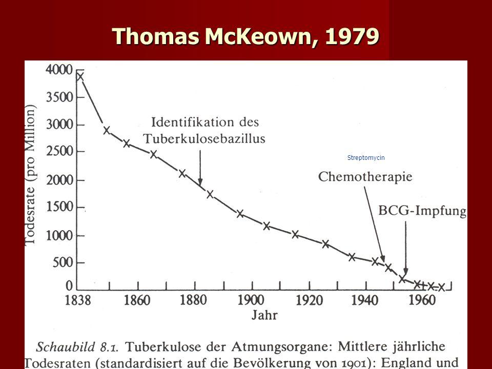 Thomas McKeown, 1979 Streptomycin. Thomas McKeown (1979) deutsch: Die Bedeutung der Medizin.