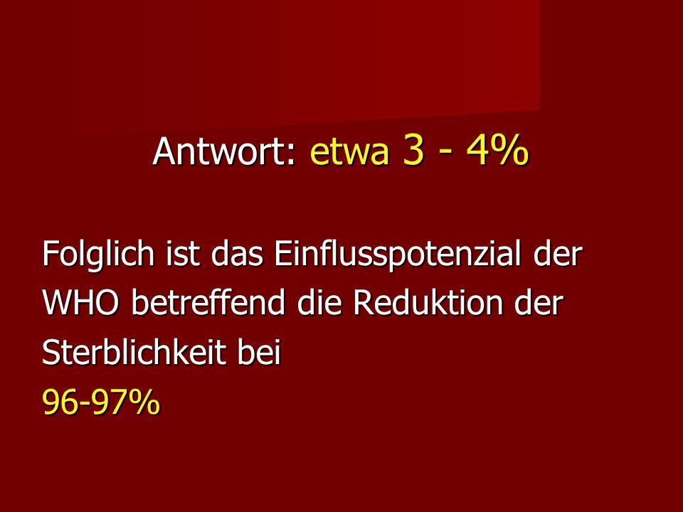 Antwort: etwa 3 - 4% Folglich ist das Einflusspotenzial der