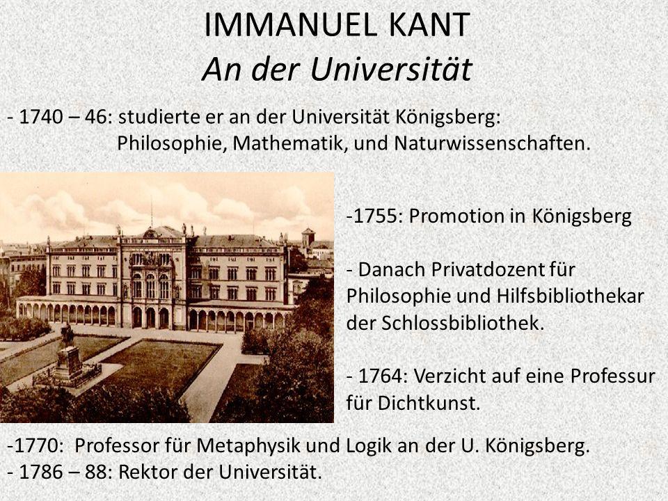 IMMANUEL KANT An der Universität
