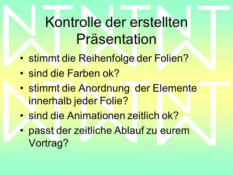 Kontrolle der erstellten Präsentation