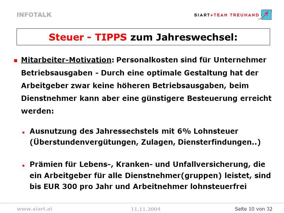 Steuer - TIPPS zum Jahreswechsel: