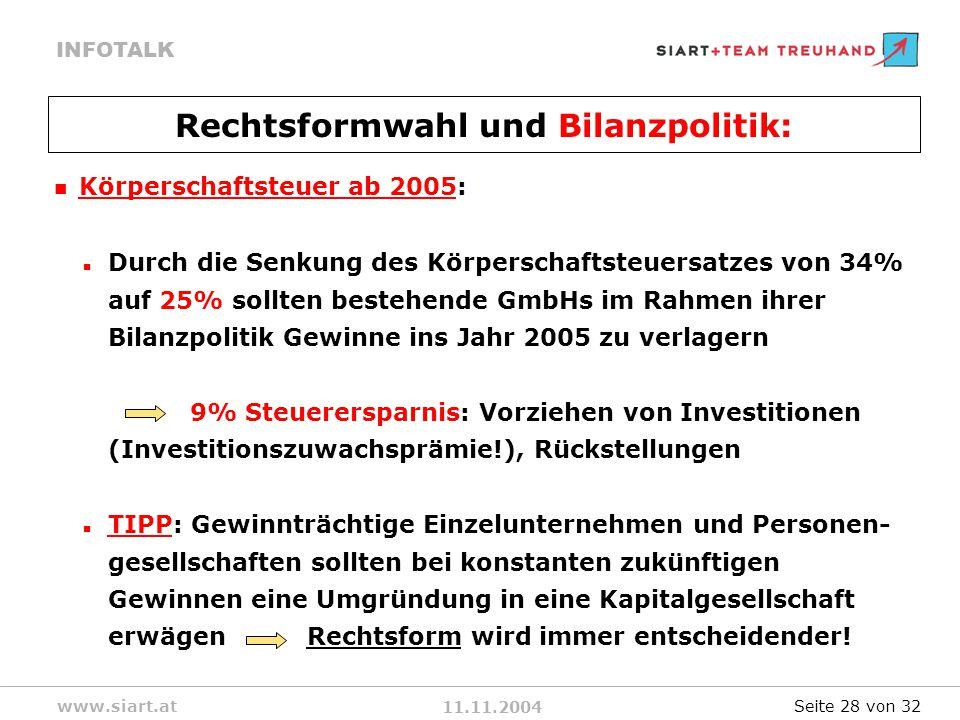 Rechtsformwahl und Bilanzpolitik: