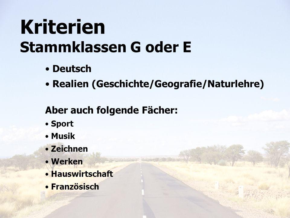 Kriterien Stammklassen G oder E Deutsch