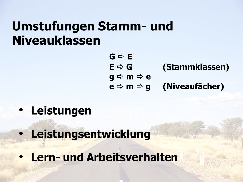 Umstufungen Stamm- und Niveauklassen. G  E. E  G. (Stammklassen)