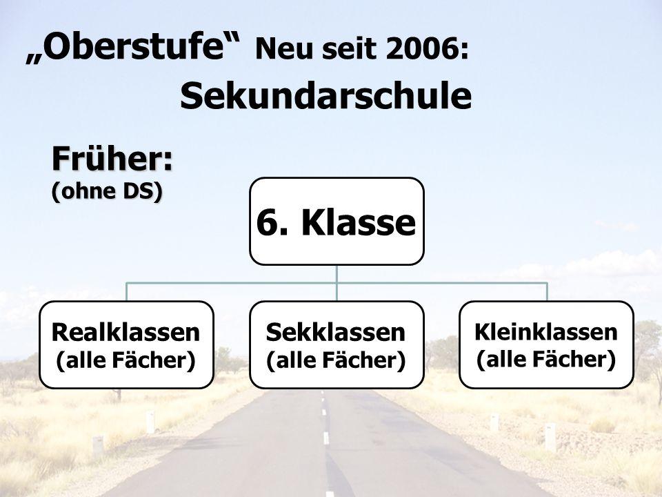"""Oberstufe Neu seit 2006: 6. Klasse Früher: Sekundarschule"