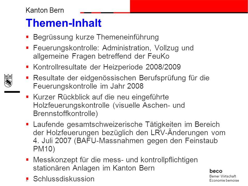 Feuerungskontrolle: Administration, Vollzug und allgemeine Fragen.