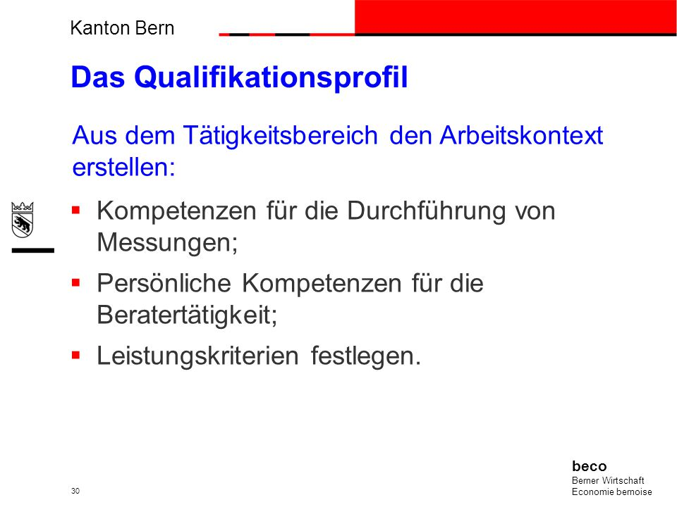 Anwendung der Charta der beruflichen Tätigkeiten, des Berufsbilds und des Qualifikationsprofil sind die Grundlage, um