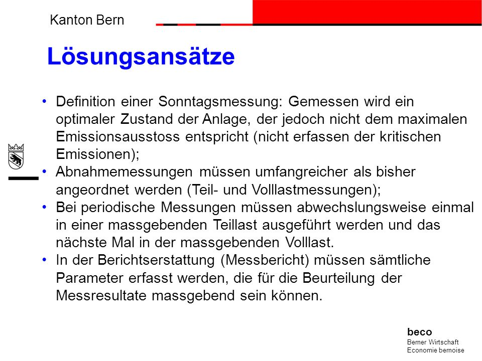 Messkonzept für die mess- und kontrollpflichtigen stationären Anlagen im Kanton Bern