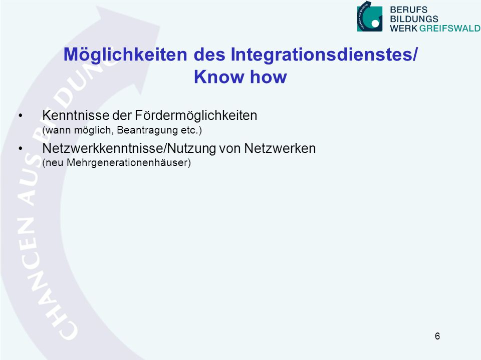 Möglichkeiten des Integrationsdienstes/ Know how