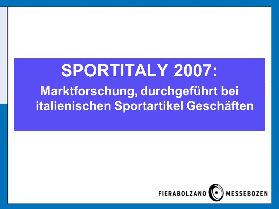 Marktforschung, durchgeführt bei italienischen Sportartikel Geschäften