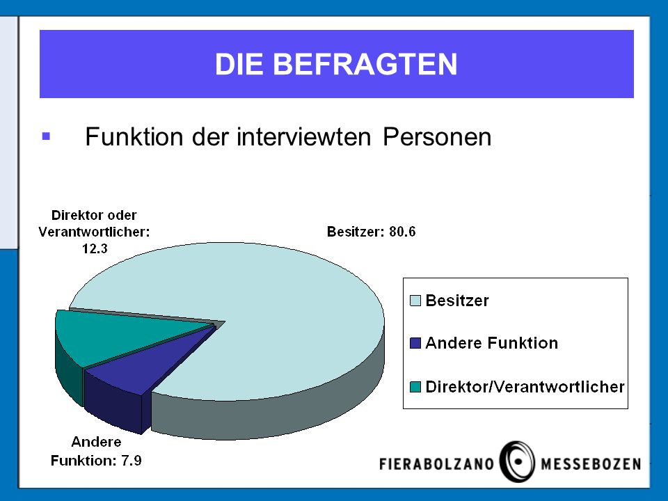DIE BEFRAGTEN Funktion der interviewten Personen