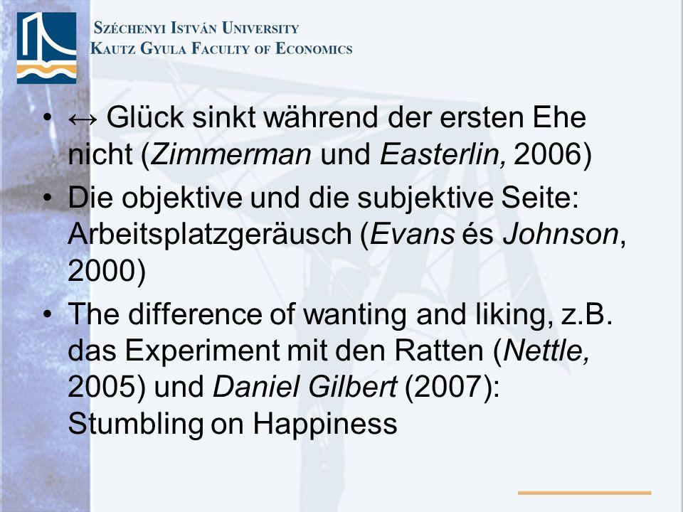 ↔ Glück sinkt während der ersten Ehe nicht (Zimmerman und Easterlin, 2006)