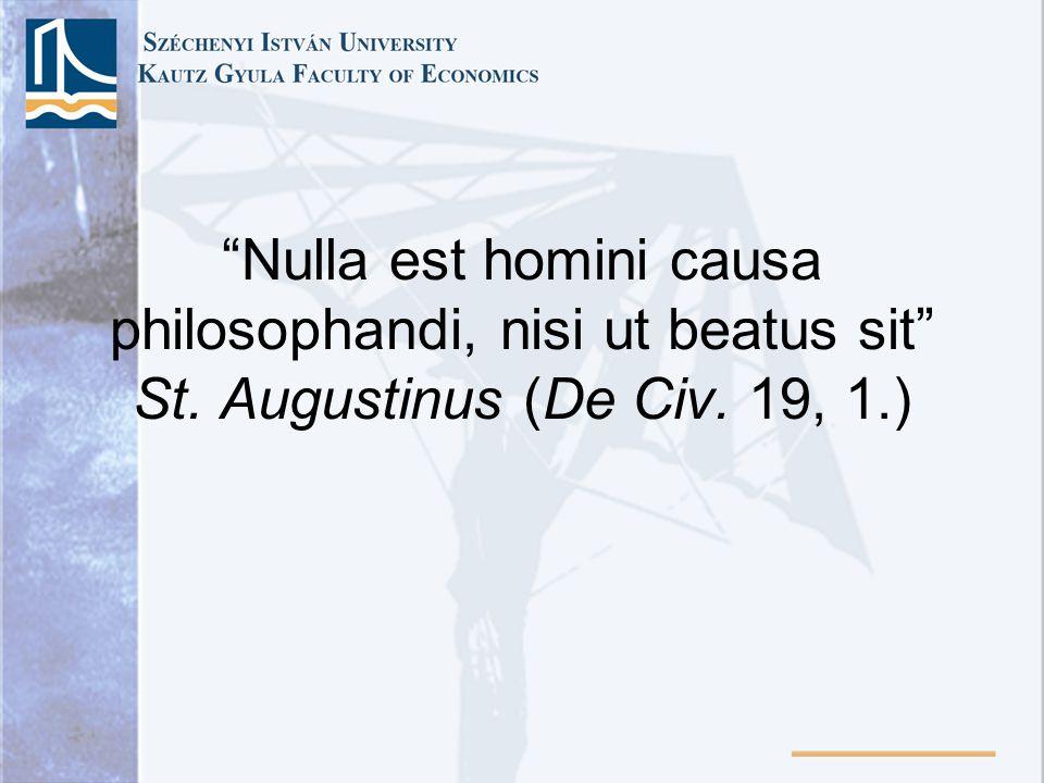 Nulla est homini causa philosophandi, nisi ut beatus sit St