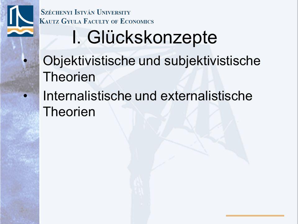 I. Glückskonzepte Objektivistische und subjektivistische Theorien