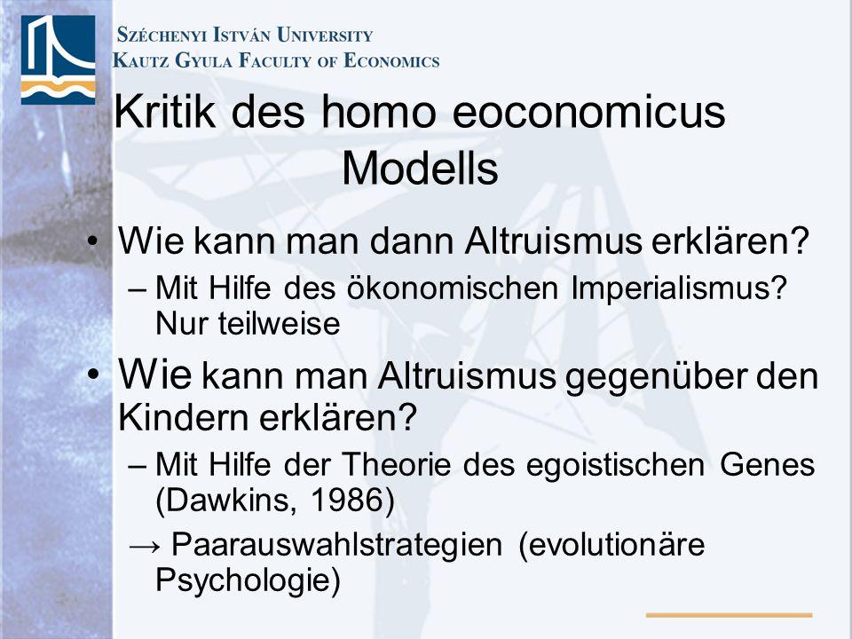 Kritik des homo eoconomicus Modells