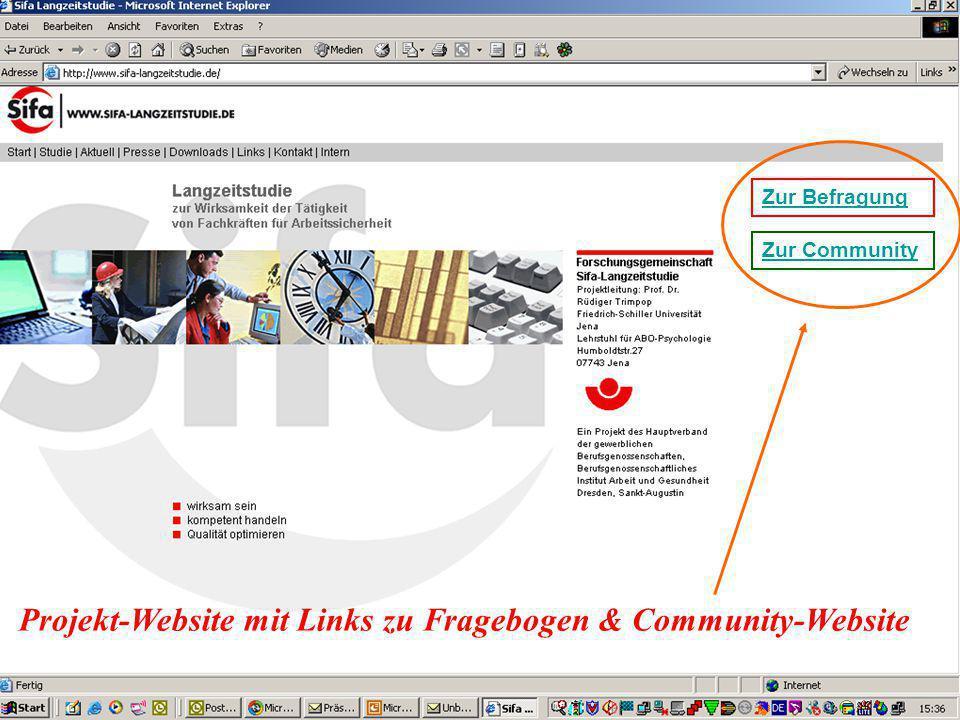 Projekt-Website mit Links zu Fragebogen & Community-Website