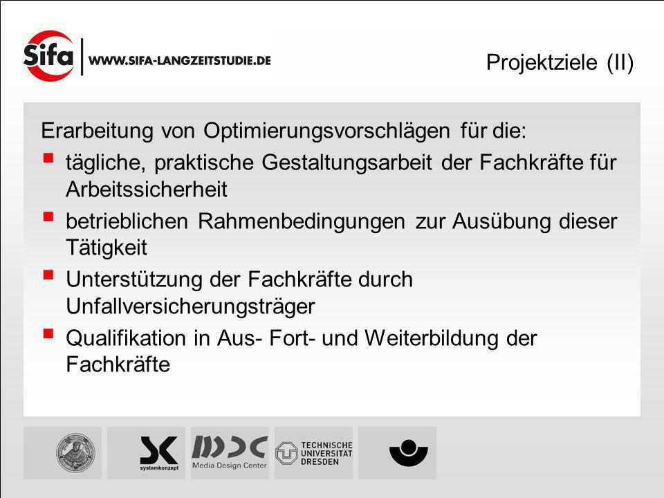 Projektziele (II) Erarbeitung von Optimierungsvorschlägen für die: tägliche, praktische Gestaltungsarbeit der Fachkräfte für Arbeitssicherheit.