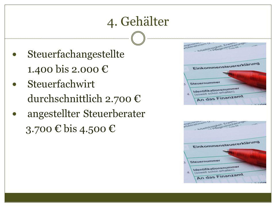 4. Gehälter Steuerfachangestellte 1.400 bis 2.000 € Steuerfachwirt