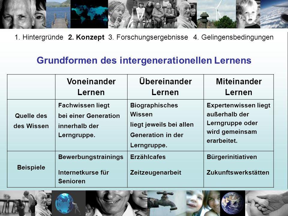 Grundformen des intergenerationellen Lernens