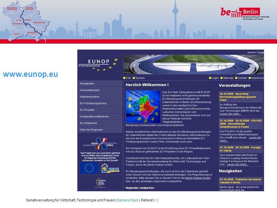 www.eunop.eu Senatsverwaltung für Wirtschaft, Technologie und Frauen | Barbara Staib | Referat II C