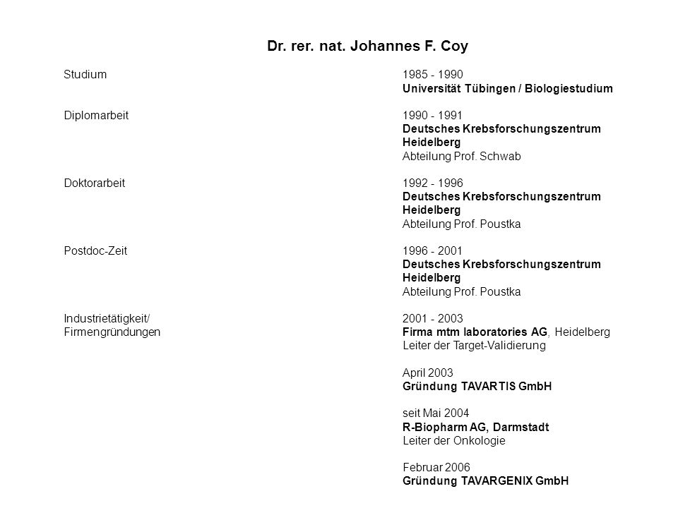 Dr. rer. nat. Johannes F. Coy