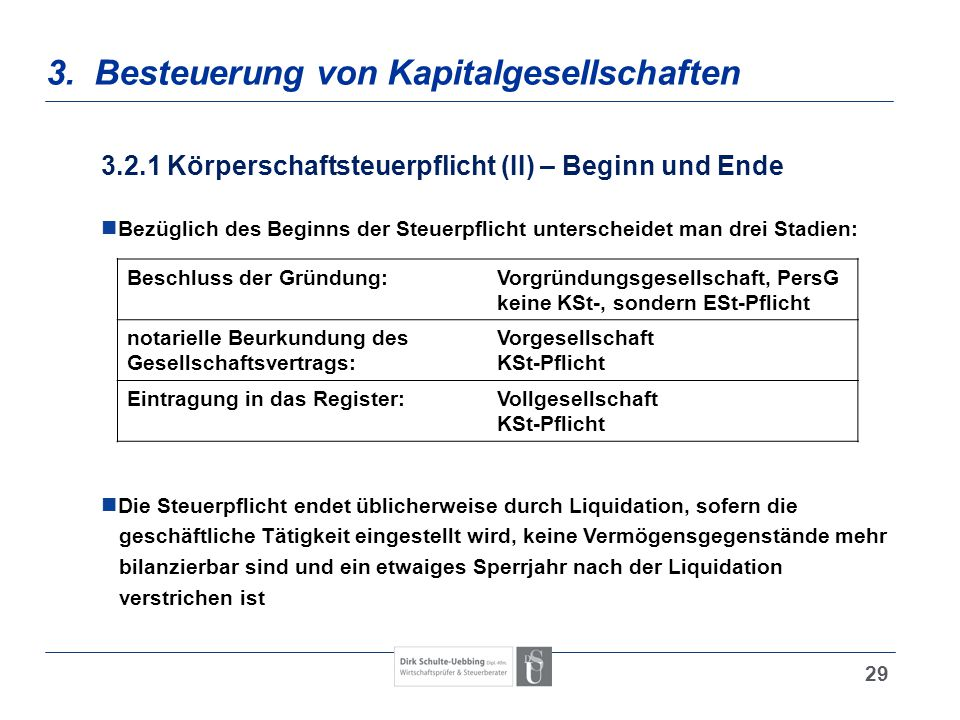 3. Besteuerung von Kapitalgesellschaften