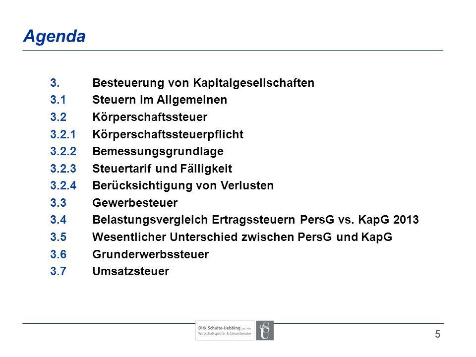Agenda 3. Besteuerung von Kapitalgesellschaften