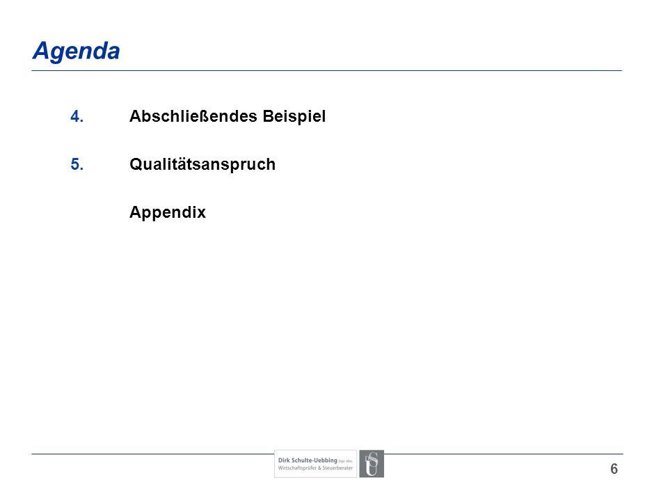 Agenda 4. Abschließendes Beispiel 5. Qualitätsanspruch Appendix