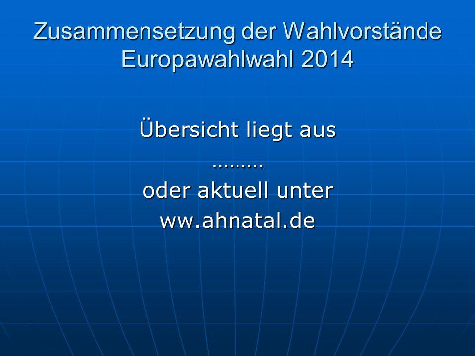 Zusammensetzung der Wahlvorstände Europawahlwahl 2014