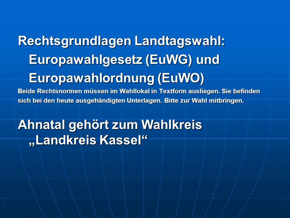 Rechtsgrundlagen Landtagswahl: Europawahlgesetz (EuWG) und