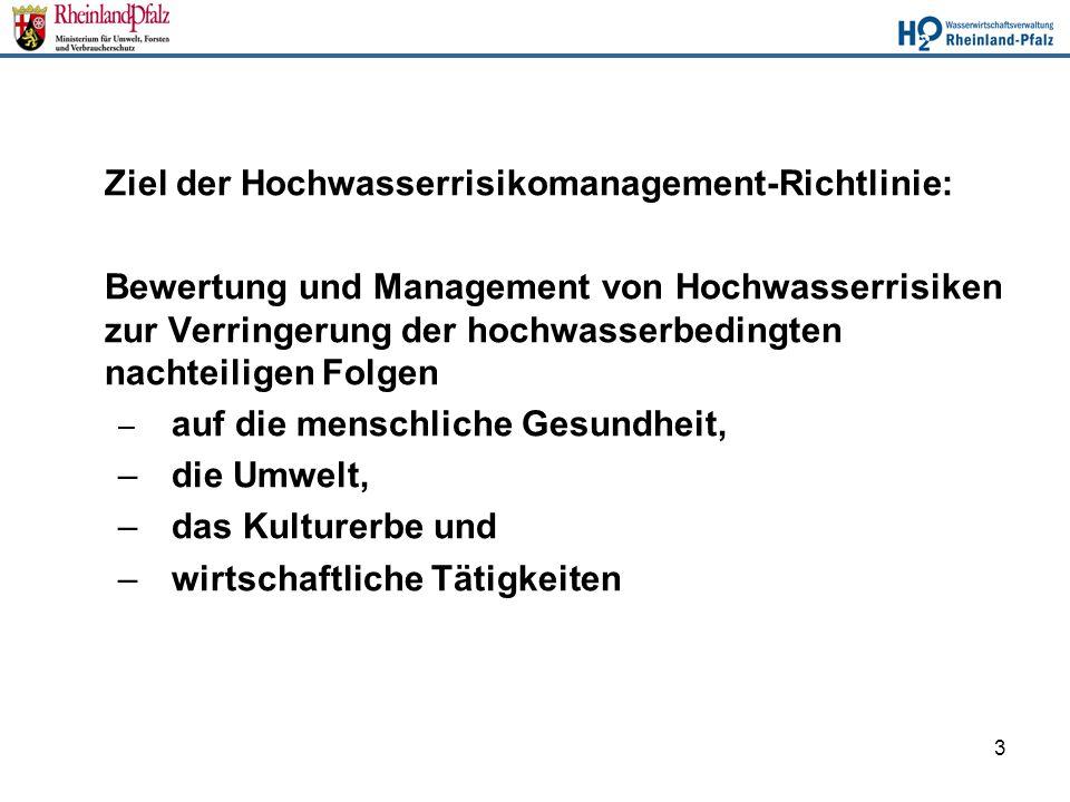 Ziel der Hochwasserrisikomanagement-Richtlinie: