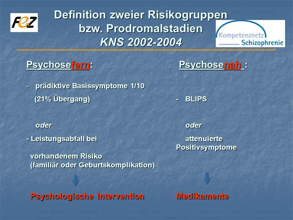 Definition zweier Risikogruppen bzw. Prodromalstadien