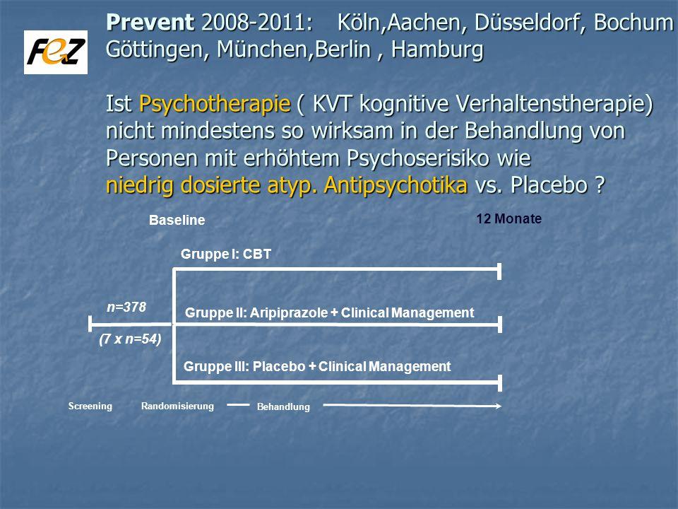 Prevent 2008-2011: Köln,Aachen, Düsseldorf, Bochum Göttingen, München,Berlin , Hamburg Ist Psychotherapie ( KVT kognitive Verhaltenstherapie) nicht mindestens so wirksam in der Behandlung von Personen mit erhöhtem Psychoserisiko wie niedrig dosierte atyp. Antipsychotika vs. Placebo