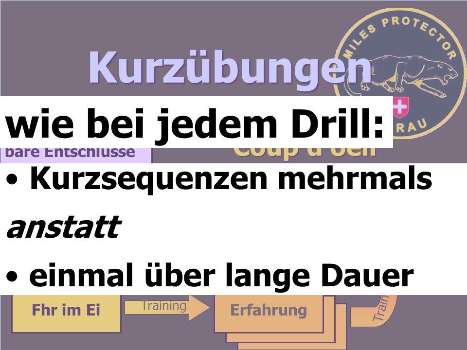 Kurzübungen wie bei jedem Drill: Kurzsequenzen mehrmals anstatt