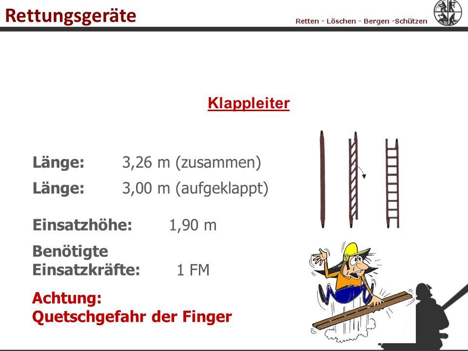 Rettungsgeräte Klappleiter Länge: 3,26 m (zusammen) Länge: