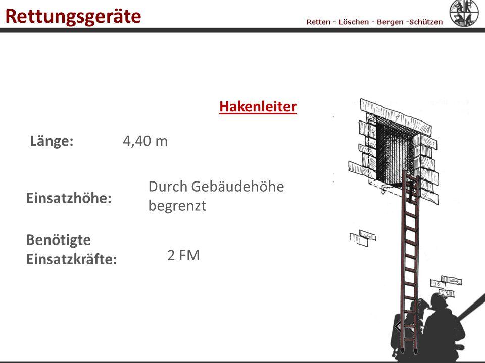 Rettungsgeräte Hakenleiter Länge: 4,40 m Durch Gebäudehöhe begrenzt