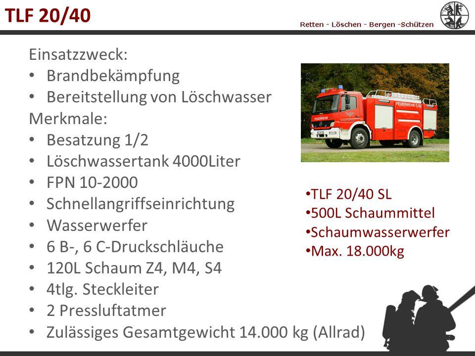 TLF 20/40 Einsatzzweck: Brandbekämpfung Bereitstellung von Löschwasser