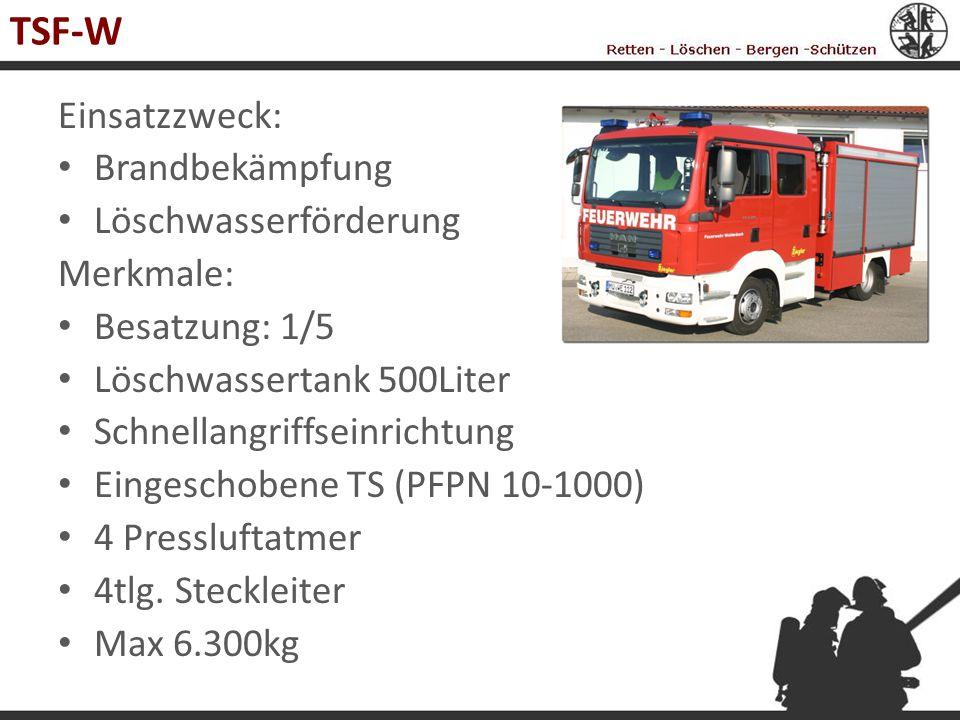 TSF-W Einsatzzweck: Brandbekämpfung Löschwasserförderung Merkmale: