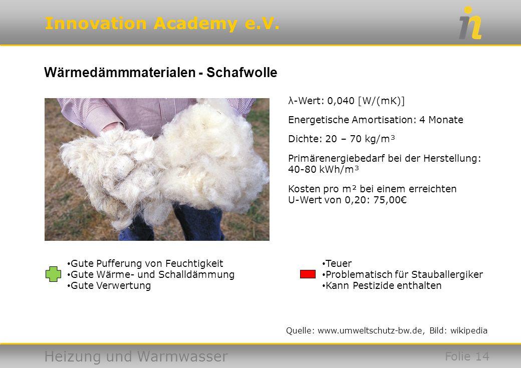 Wärmedämmmaterialen - Schafwolle