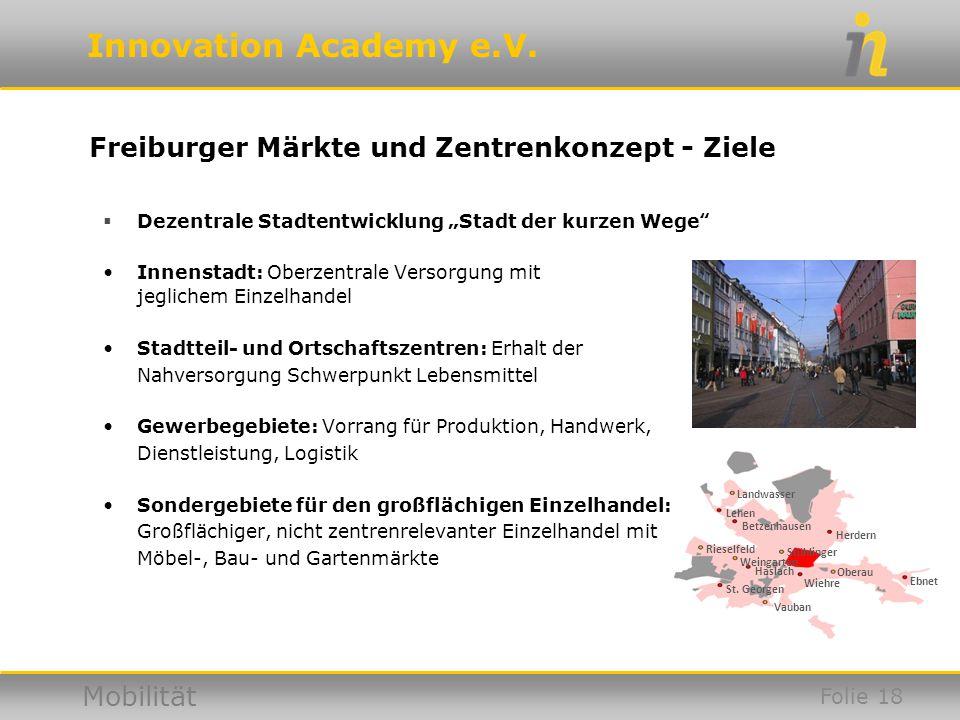Freiburger Märkte und Zentrenkonzept - Ziele
