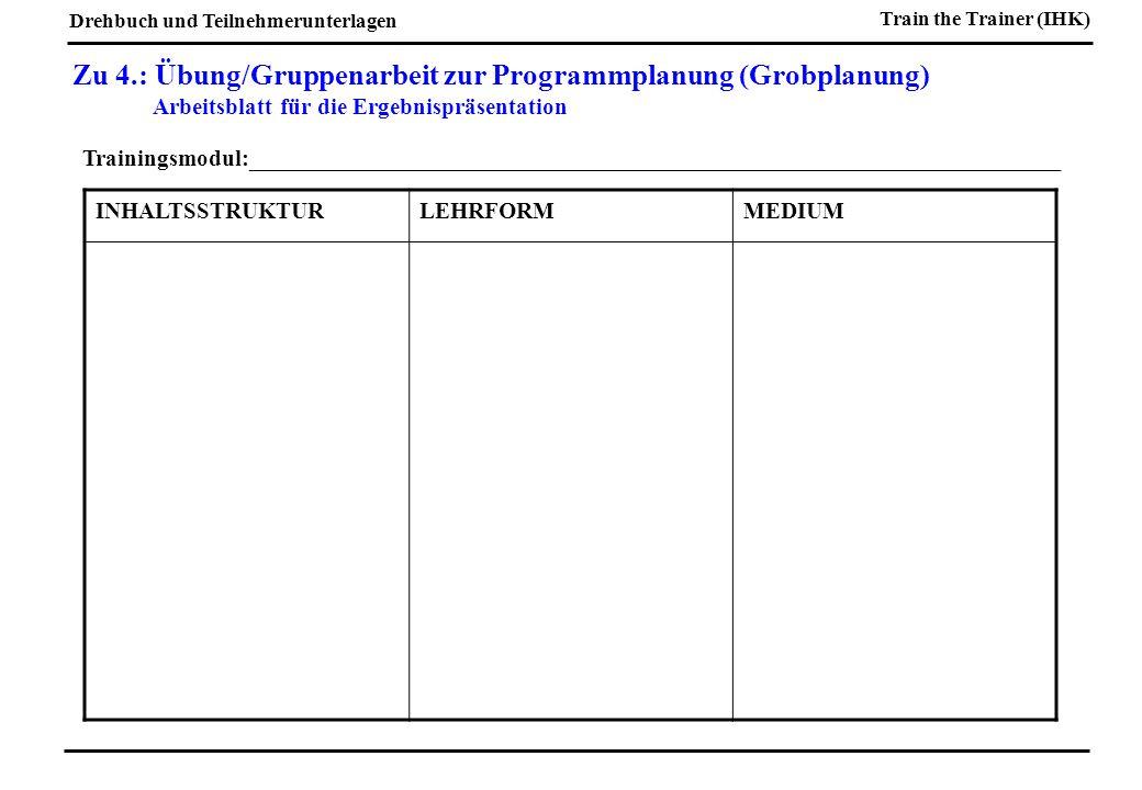 Zu 4.: Übung/Gruppenarbeit zur Programmplanung (Grobplanung)