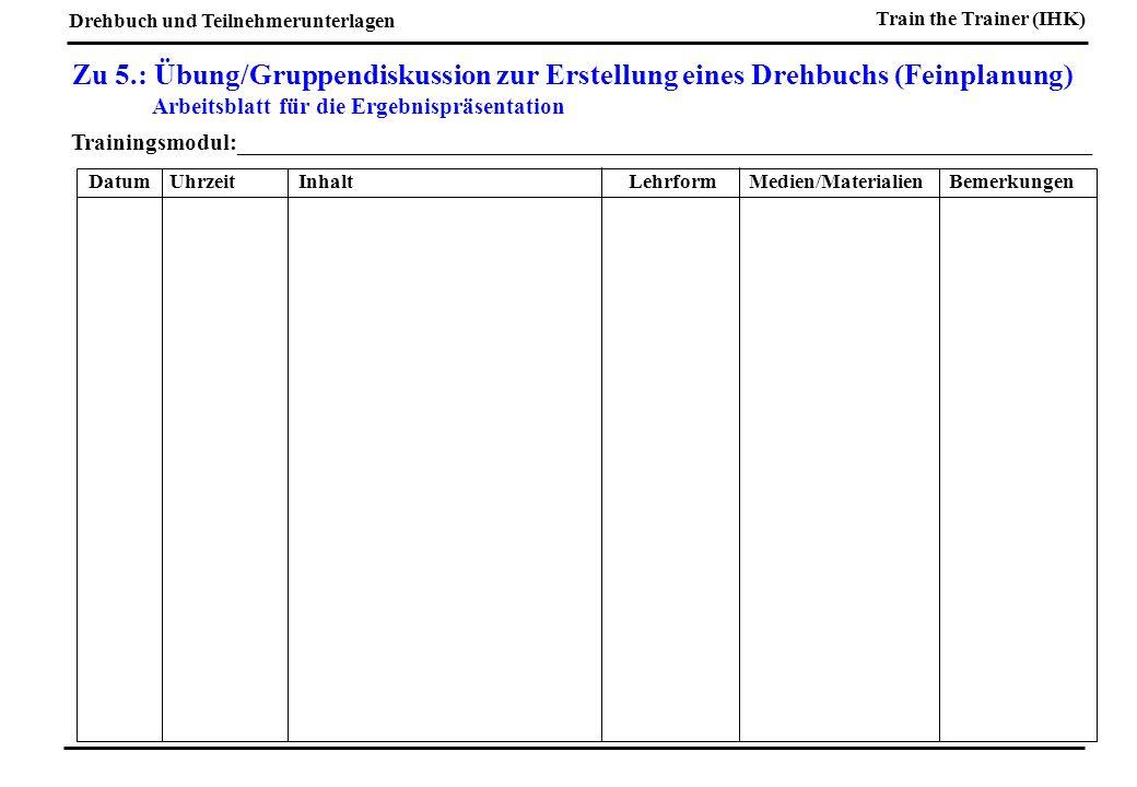 Zu 5.: Übung/Gruppendiskussion zur Erstellung eines Drehbuchs (Feinplanung)