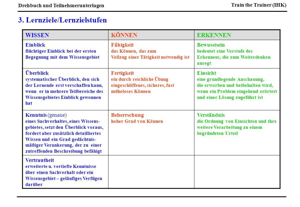 3. Lernziele/Lernzielstufen