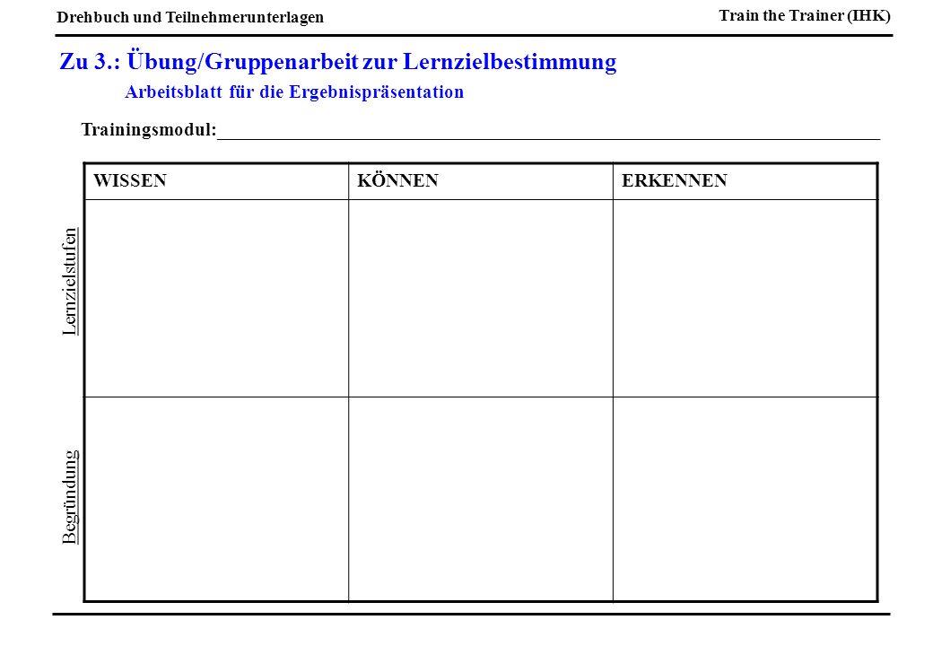 Zu 3.: Übung/Gruppenarbeit zur Lernzielbestimmung Arbeitsblatt für die Ergebnispräsentation