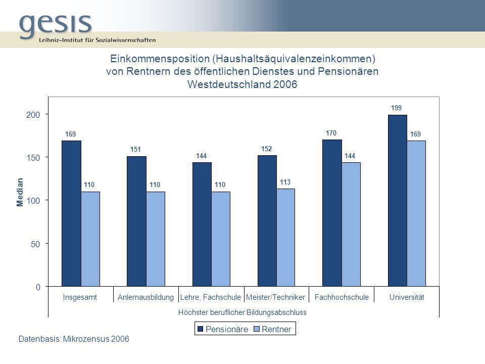 Einkommensposition (Haushaltsäquivalenzeinkommen) von Rentnern des öffentlichen Dienstes und Pensionären Westdeutschland 2006