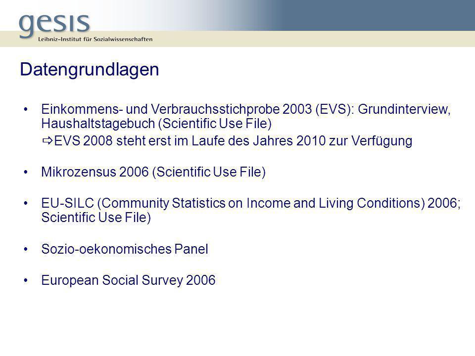 Datengrundlagen Einkommens- und Verbrauchsstichprobe 2003 (EVS): Grundinterview, Haushaltstagebuch (Scientific Use File)