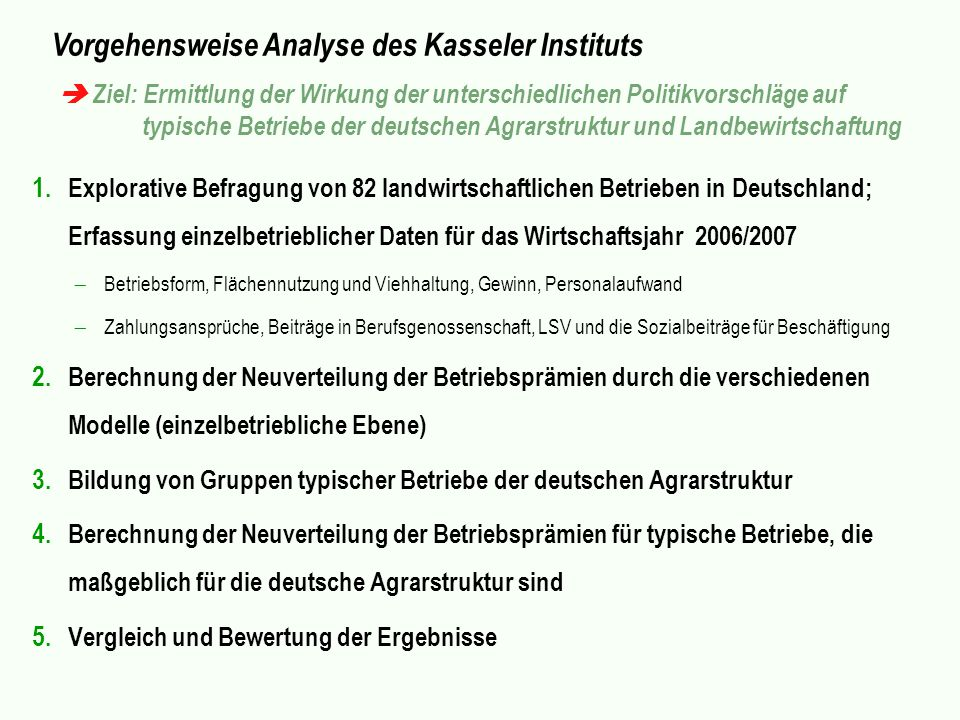 Vorgehensweise Analyse des Kasseler Instituts