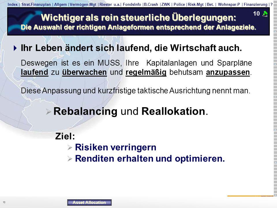 Rebalancing und Reallokation.