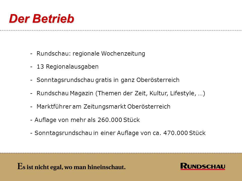 Der Betrieb Rundschau: regionale Wochenzeitung 13 Regionalausgaben